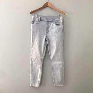 🛑5 for $25 LOFT modern skinny ankle jeans raw hem